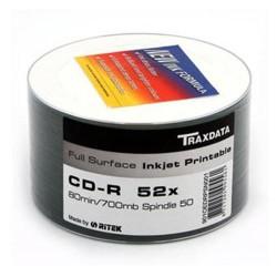 TRAXDATA RITEK DYE FULL FACE PRINTABLE CD-R 50 PACK