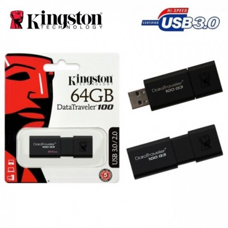KINSTON 64GB DATA TRAVELER 100 FLASH DRIVE