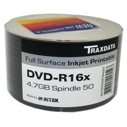 TRAXDATA RITEK DYE DVD-R 16x FULL FACE PRINTABLE 50 PACK